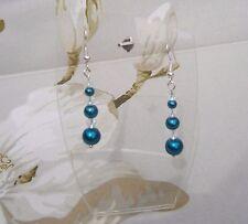 Womens Deep Teal Glass Pearl Crystal BICON Bead Dangle Pierced Earrings Handmade