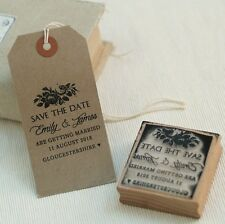 Personalised  Save The Date  wedding rubber stamp vintage rose design