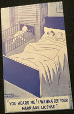 Vintage Comic Postcard? Baby Couple In Bed Marriage License