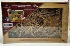 Holiday Time Hand Carved Wooden Antique Set Wa4554Wm (New)