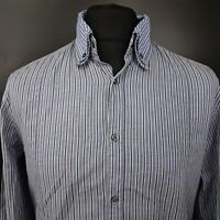 HUGO BOSS Mens Shirt LARGE Long Sleeve Blue Slim Fit Striped Cotton