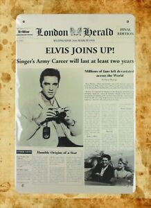 country decor Elvis Joins Up Newspaper tin metal sign