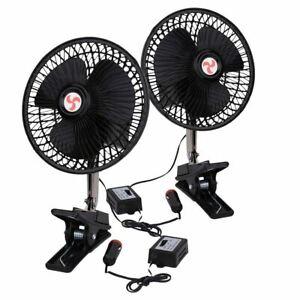Zone Tech 2x 12V Dashboard Oscillating Cooling Clip On Desk Car Fan Portable