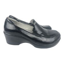 ALEGRIA Women's EMM-011 Black Leather Slip On Loafers Clogs Shoes 37 US 7-7.5