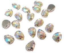 50 x Pear 13*18mm AB Clear Sew on Resin MONTEES Rhinestones Diamantes Gems