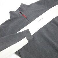 Nautica Men Large Fleece Pullover Sweater Gray Mid Zip Long Sleeve *3Z