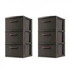 3 Drawer Plastic Storage Weave Cart Organizer Home Cabinet Tower Box Case of 2