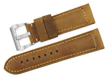 24mm Brown Genuine Asso Leather Watch Strap Band Matte Steel Buckle For Panerai