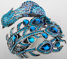Peacock cuff bangle bracelet bling jewelry gifts for women mom silver blue A29