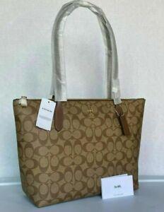 NWT Coach Tote 4455 Signature Coated Canvas Zip Top Shoulder Bag in Khaki Saddle