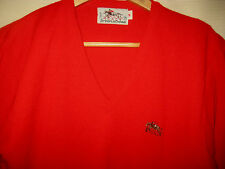 STEEPELCHASE VINTAGE RED ORLON EQUESTRIAN SWEATER-EMBROIDERED LOGO USA MADE-S/M