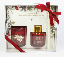 Red Cinnamon Scented Candle Fragrance Oil Xmas Christmas Gift Boxed Set Present