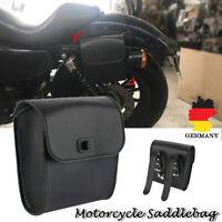 Universal Schwarz PU Leder Motorrad Werkzeug Tasche Gepäck Für Harely Moped Auto