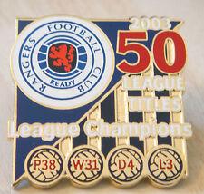 Rangers 50 Ligue des titres victoire PINS 2003 Ligue des Champions badge Danbury Comme neuf