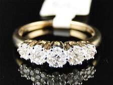 14K Ladies Yellow Gold 5 Stone Flower Cluster Diamond Engagement Wedding Ring