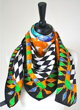 80's Harlequin & floral black/white and gold vintage silk scarf  - Large