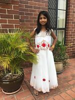 "36"" Age 9 10 11 12 Size Fancy Frock Indian Bollywood Kids Dress Girls White Red"