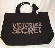 new Victoria's Secret Black Canvas Metallic Silver Rivet Large Tote Bag