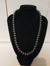 Vintage Rare 45cm Genuine Black Hematite Ball Bead Necklace 73Grams 8.5 mm Beads