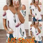Womens Casual Cold Shoulder Tee Summer T-Shirt Zipper V Neck Short Sleeve Tops