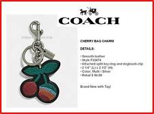 NWT COACH Cherry Bag Charm Leather w silver hardware F32674 multi color sparkle