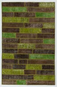 Brown & Green Color Handmade Patchwork Rug Made from Over-Dyed Vintage Carpets