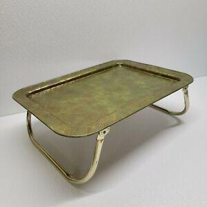 "Vintage ""Lavada"" Metal TV Lap Bed Tray Folding Legs Green Gold Design Gold Legs"