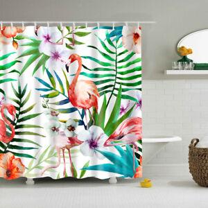 Flamingo Print Shower Curtain Bathroom Liner Bath Set Hanging Panel Sheer #8