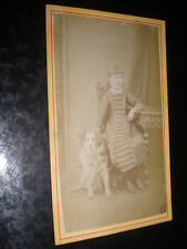 Cdv old photograph girl in striped dress with dog c1870s