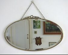 Vintage Retro Art Deco Nouveau Oval Bevelled Mirror Brass Crest & Rim Frame