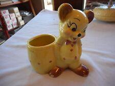 Vintage Mouse / Bear Standing Beside Barrel Yellow Decorative Planter Pottery