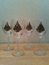 "Set of 4 wine glasses with Christmas tree design, 7.75"", 10 oz."