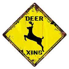 DS-0021 DEER XING Diamond Sign Rustic Chic Sign Shop Home Decor Gift