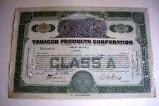 Tobacco Products Corporation Stock Certificate, July 24,1930, Black Memorabilia