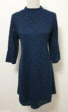 M&S Collection Dress   Size 18   Navy Blue Lace   A-Line   Mock Neck 3/4 Sleeve