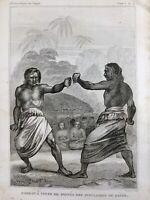 Boxe Polynésienne Rare Gravure du 19eme siècle Océanie Polynésie Hapée