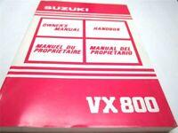 OEM Suzuki VX800 Owner's Manual (EN, FR, SW, SP) PN 99011-45C52-028