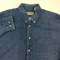 Perry Ellis America Button Up Shirt Men's 2XL XXL Long Sleeve Blue Denim Cotton