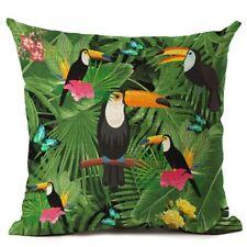 "NEW Green Leaf Cotton Linen Cushion Cover Throw Pillow Case Sofa Home Decor 18"""
