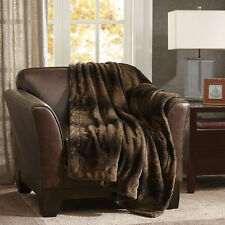 ULTRA SOFT PLUSH LUXURIOUS WARM FAUX ANIMAL FUR THROW BLANKET BROWN GREY NEW!