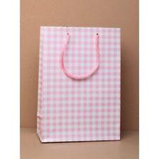6 pièces h20xw14xd7cm cadeau sacs rose petit carreau Cordon Poignées