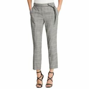 DKNY Women's Petite Belted Ankle Plaid Slim-leg Casual Pants TEDO