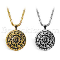 Men's Vintage Stainless Steel 12 Constellation Zodiac Compass Pendant Necklace