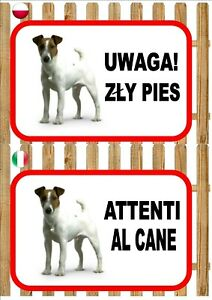 Jack Russell Beware Of The Dog sign UWAGA ZŁY PIES ATTENTI AL CANE Plaque