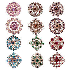 Lot12 Vintage Gold Multi Color Rhinestone Crystal Brooches Pins Back DIY Bouquet