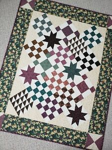 """""""Star Light"""" Multicolored Handmade Quilt Throw, 100% Cotton, Machine Quilted"""