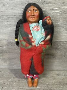 """Vintage 10"""" Skookum Bully Good Indian Doll Old Toy Native American Mother & Baby"""