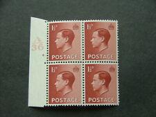 Gb Keviii 1936 1½d red-brown Sg459 Lmm Marginal Cylinder Block of 4 (4 dot)