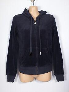 JUICY COUTURE navy blue velour zip-front hooded jersey hoodie jacket, XS/6-8