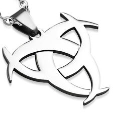 Stainless Steel TRI-CRESCENT THREE CRESCENT MOON TRIBAL CHARM & BAIL PENDANT